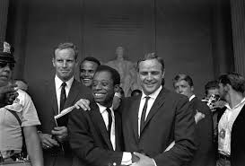 Charlton Heston, James Baldwin & Marlon Brando in 1963